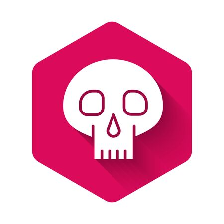 White Skull icon isolated with long shadow. Pink hexagon button. Vector Illustration 向量圖像