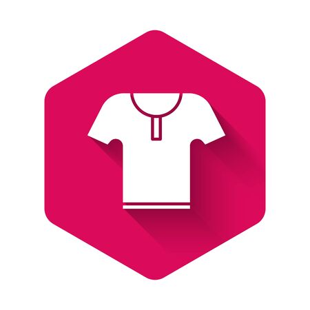 White Body armor icon isolated with long shadow. Pink hexagon button. Vector Illustration