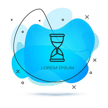 Line Old hourglass with flowing sand icon isolated on white background. Sand clock sign. Business and time management concept. Abstract banner with liquid shapes. Vector Illustration