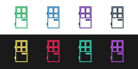 Set line Closed door icon isolated on black and white background. Vector Illustration