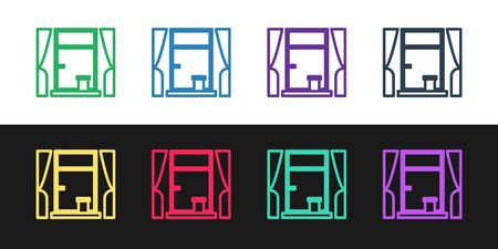 Set line Window with curtains in the room icon isolated on black and white background. Vector Illustration