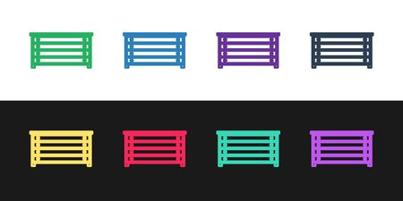 Set line Chest of drawers icon isolated on black and white background. Vector Illustration