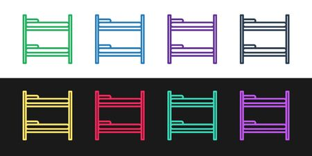 Set line Bunk bed icon isolated on black and white background. Vector Illustration