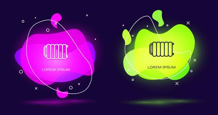 Line Heating radiator icon isolated on black background. Abstract banner with liquid shapes. Vector Illustration