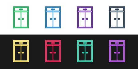 Set line Wardrobe icon isolated on black and white background. Vector Illustration Ilustrace