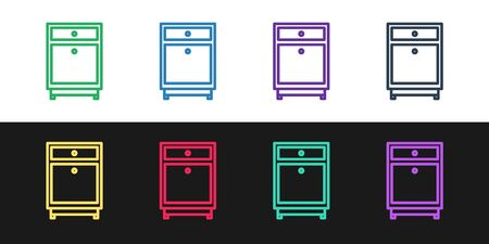 Set line Furniture nightstand icon isolated on black and white background. Vector Illustration Ilustrace