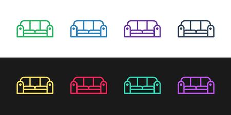 Set line Sofa icon isolated on black and white background. Vector Illustration