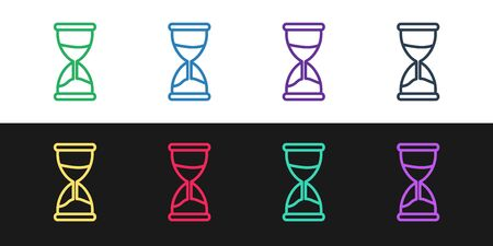 Set line Old hourglass with flowing sand icon isolated on black and white background. Sand clock sign. Business and time management concept. Vector Illustration 向量圖像
