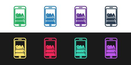 Set line Mobile phone with Question and Exclamation icon isolated on black and white background. Frequently asked questions. Vector Illustration