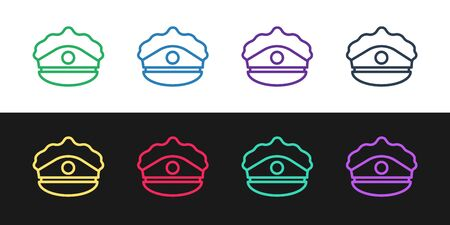 Set line Police cap with cockade icon isolated on black and white background. Police hat sign. Vector Illustration