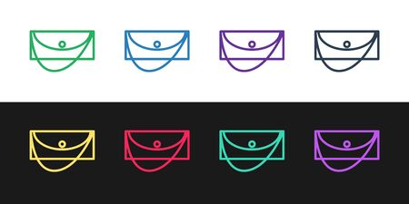 Set line Clutch bag icon isolated on black and white background. Women clutch purse. Vector Illustration 일러스트