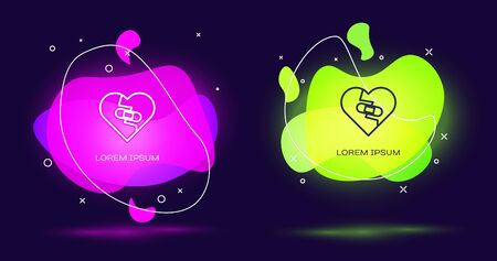 Line Healed broken heart or divorce icon isolated on black background. Shattered and patched heart. Love symbol. Valentines day. Abstract banner with liquid shapes. Vector Illustration Ilustração