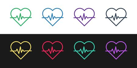 Set line Heart rate icon isolated on black and white background. Heartbeat sign. Heart pulse icon. Cardiogram icon. Vector Illustration Ilustrace