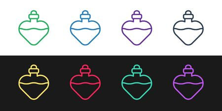 Set line Bottle with love potion icon isolated on black and white background. Valentines day symbol. Vector Illustration