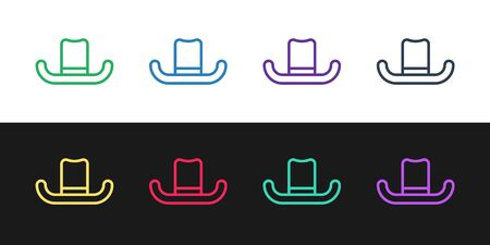 Set line Man hat with ribbon icon isolated on black and white background. Vector Illustration