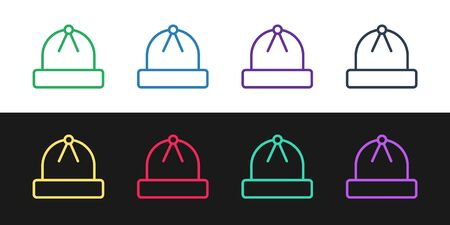 Set line Winter hat icon isolated on black and white background. Vector Illustration