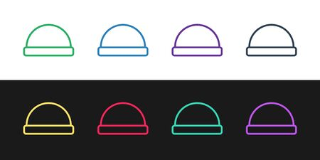 Set line Beanie hat icon isolated on black and white background. Vector Illustration 일러스트