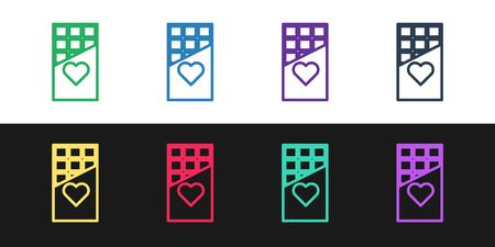 Set line Chocolate bar icon isolated on black and white background. Valentines day symbol. Vector Illustration