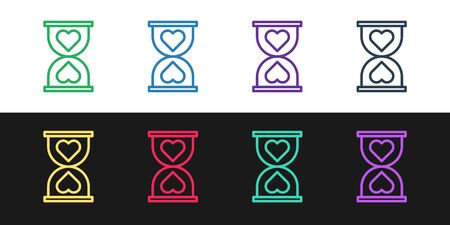 Set line Heart in the center old hourglass icon isolated on black and white background. Valentines day. Vector Illustration