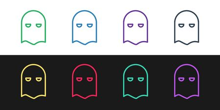 Set line Executioner mask icon isolated on black and white background. Hangman, torturer, executor, tormentor, butcher, headsman icon. Vector Illustration