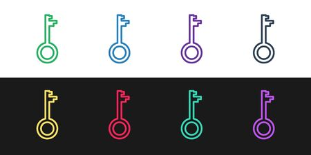 Set line Old key icon isolated on black and white background. Vector Illustration
