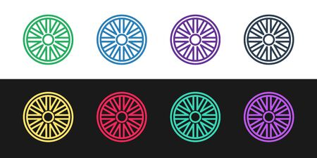 Set line Old wooden wheel icon isolated on black and white background. Vector Illustration Ilustração
