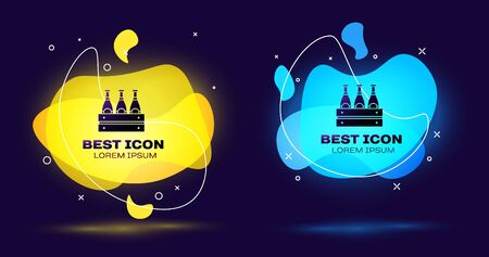 Black Pack of beer bottles icon isolated on blue background. Wooden box and beer bottles. Case crate beer box sign. Set abstract banner with liquid shapes. Vector Illustration Illustration