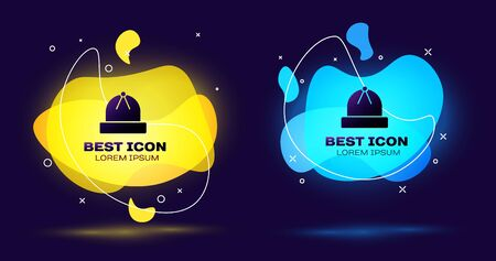 Black Winter hat icon isolated on blue background. Set abstract banner with liquid shapes. Vector Illustration
