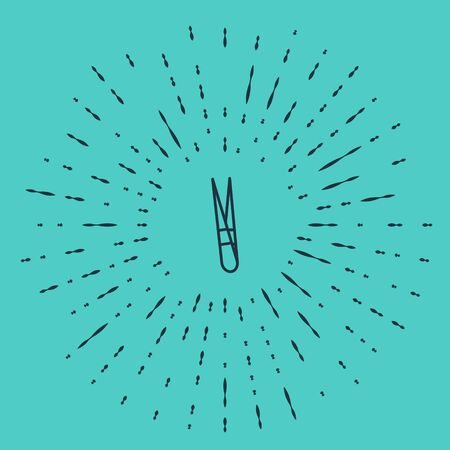 Black line Eyebrow tweezers icon isolated on green background. Cosmetic tweezers for ingrown hair. Abstract circle random dots. Vector Illustration