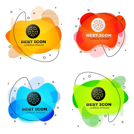 Black Car wheel icon isolated on white background. Set abstract banner with liquid shapes. Vector Illustration