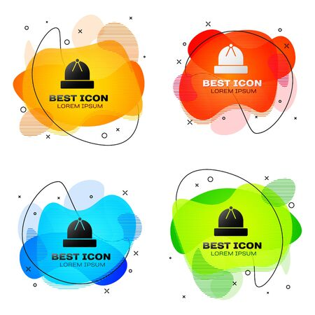 Black Winter hat icon isolated on white background. Set abstract banner with liquid shapes. Vector Illustration 일러스트