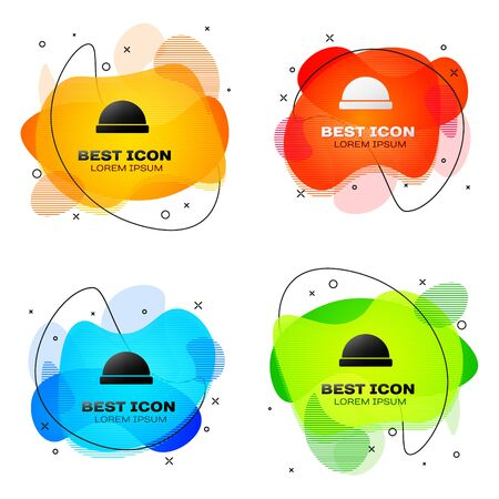Black Beanie hat icon isolated on white background. Set abstract banner with liquid shapes. Vector Illustration 일러스트