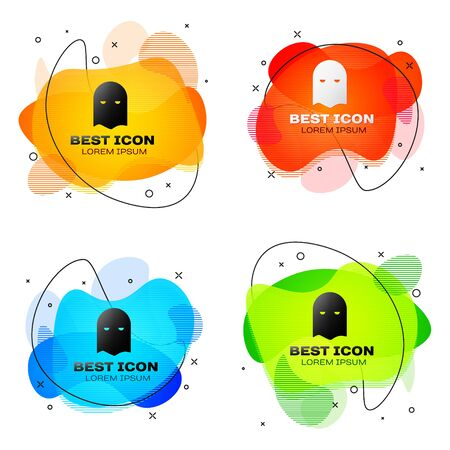 Black Executioner mask icon isolated on white background. Hangman, torturer, executor, tormentor, butcher, headsman icon. Set abstract banner with liquid shapes. Vector Illustration