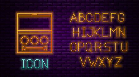 Glowing neon line Eye shadow palette with brush icon isolated on brick wall background. Neon light alphabet. Vector Illustration