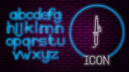Glowing neon line Curling iron for hair icon isolated on brick wall background. Hair straightener icon. Neon light alphabet. Vector Illustration