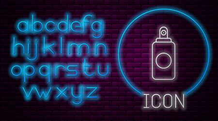 Glowing neon line Spray can for air freshener, hairspray, deodorant, antiperspirant icon isolated on brick wall background. Neon light alphabet. Vector Illustration