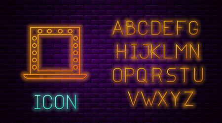 Glowing neon line Makeup mirror with lights icon isolated on brick wall background. Neon light alphabet. Vector Illustration