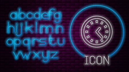 Glowing neon line Clock icon isolated on brick wall background. Time symbol. Neon light alphabet. Vector Illustration