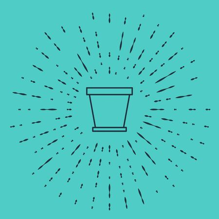 Black line Flower pot icon isolated on green background. Abstract circle random dots. Vector Illustration