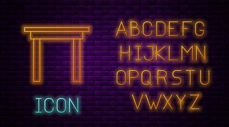 Glowing neon line Wooden table icon isolated on brick wall background. Neon light alphabet. Vector Illustration Illusztráció