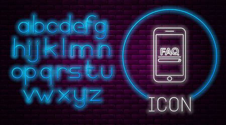 Glowing neon line Mobile phone with text FAQ information icon isolated on brick wall background. Frequently asked questions. Neon light alphabet. Vector Illustration
