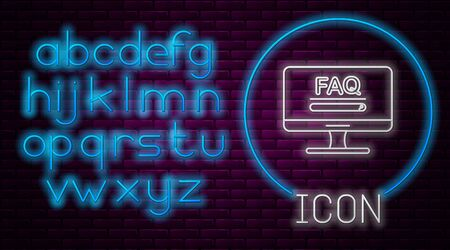Glowing neon line Computer monitor with text FAQ information icon isolated on brick wall background. Frequently asked questions. Neon light alphabet. Vector Illustration
