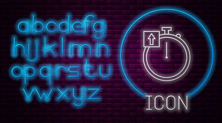 Glowing neon line Stopwatch icon isolated on brick wall background. Time timer sign. Chronometer sign. Neon light alphabet. Vector Illustration 일러스트
