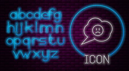 Glowing neon line Speech bubble with sad smile icon isolated on brick wall background. Emoticon face. Neon light alphabet. Vector Illustration