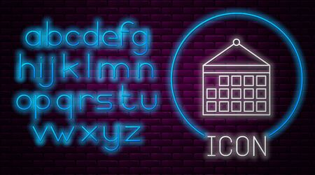 Glowing neon line Calendar icon isolated on brick wall background. Event reminder symbol. Neon light alphabet. Vector Illustration