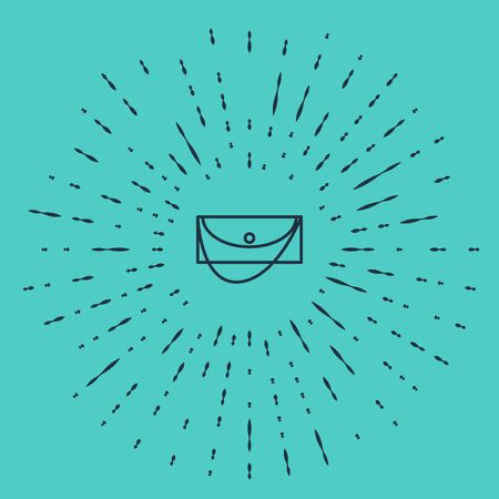 Black line Clutch bag icon isolated on green background. Women clutch purse. Abstract circle random dots. Vector Illustration