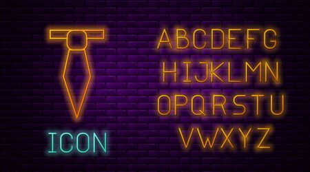 Glowing neon line Tie icon isolated on brick wall background. Necktie and neckcloth symbol. Neon light alphabet. Vector Illustration