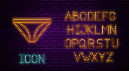 Glowing neon line Men underpants icon isolated on brick wall background. Man underwear. Neon light alphabet. Vector Illustration