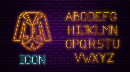 Glowing neon line Blazer or jacket icon isolated on brick wall background. Neon light alphabet. Vector Illustration