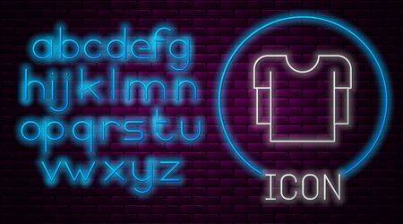 Glowing neon line Long sleeve shirt icon isolated on brick wall background. Neon light alphabet. Vector Illustration Illusztráció